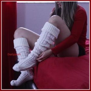 Long Cable Knit Thigh High Over The Knee Boot Sock